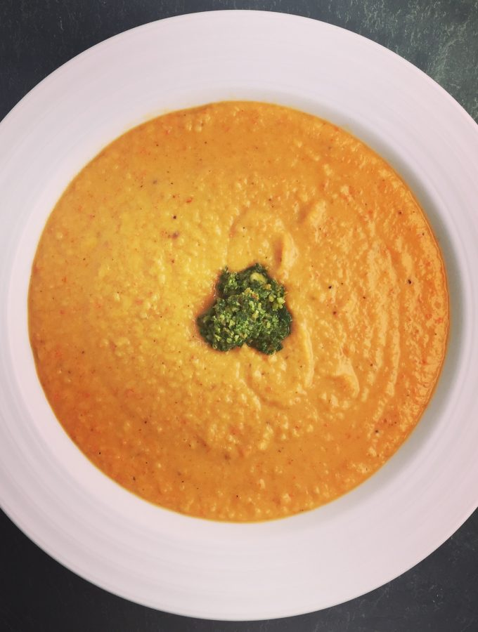 Thai Coconut Sweet Potato Soup with Cilantro Peanut Pesto
